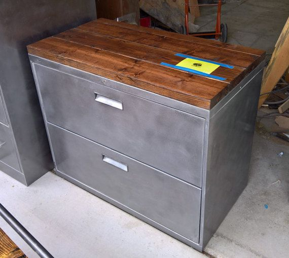 Refinished 36 Wide 2 Drawer Lateral Metal Filing Cabinet Tool Storage W Solid Wood Top Office Rustic
