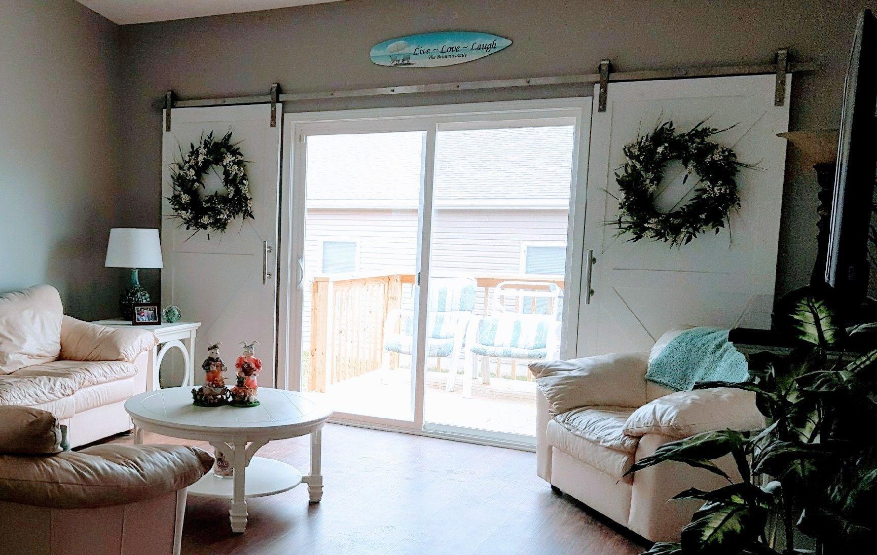 Use Barn Doors As Window Covering For Sliding Glass Patio Doors Reesrusticreations Com Door Coverings Sliding Glass Doors Patio Patio Door Coverings