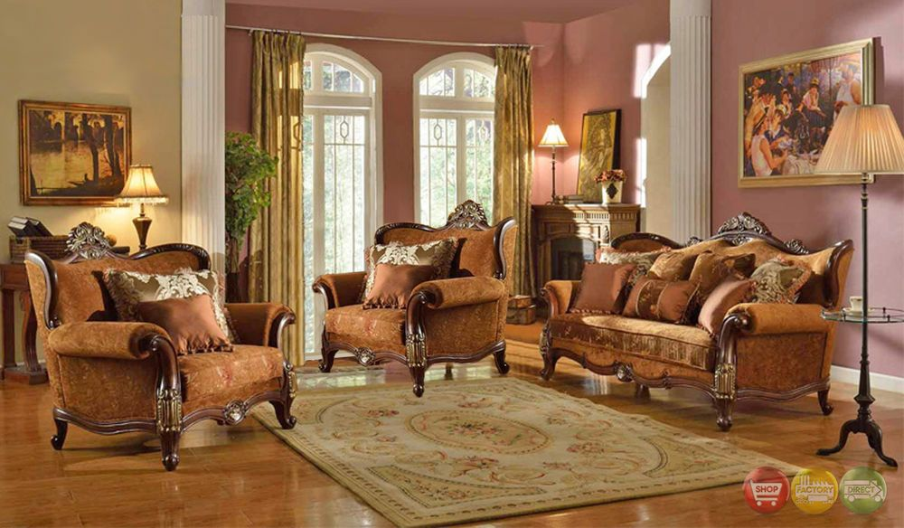 Autumn Formal Luxury Traditional Sofa 2 Chairs Exposed Wood Antique Styling