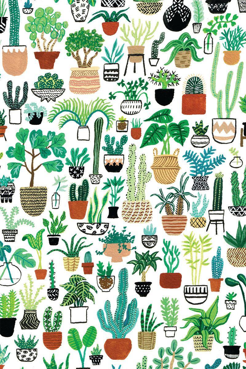 Plant Party kaart Bloem behang, Cactus tekening en