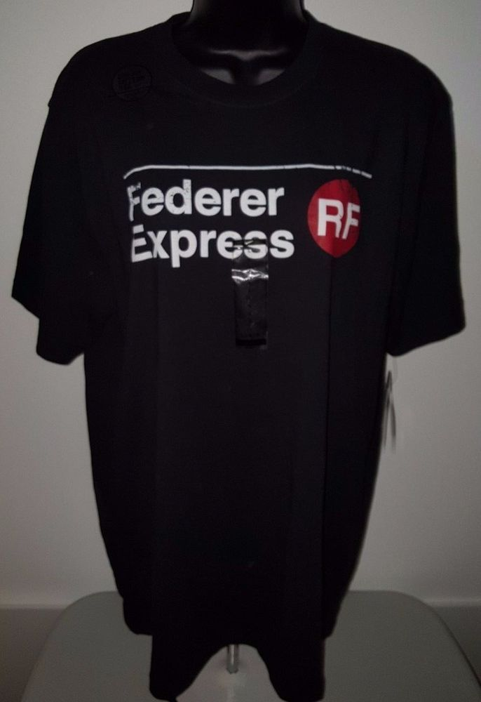 80809e247605 Nike NWT Men s Red Black Red Roger Federer Express Tennis Dri-Fit T-Shirt  Size L  Nike  GraphicTee