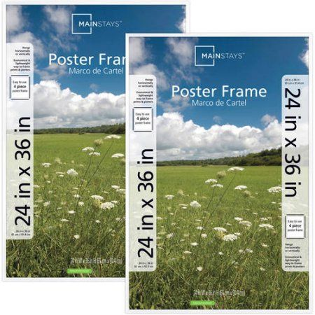 Mainstays 24x36 Basic Poster Picture Frame Black Set Of 2 Poster Frame Plastic Picture Frames White Picture Frames