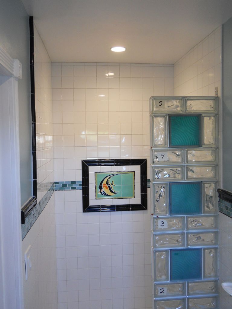 project spotlight transforming a 75 year old small bathroom with a glass block tile shower san diego california - Bathroom Designs Using Glass Blocks
