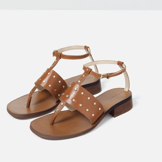 Image 3 of FLAT LEATHER STUDDED SANDALS from Zara