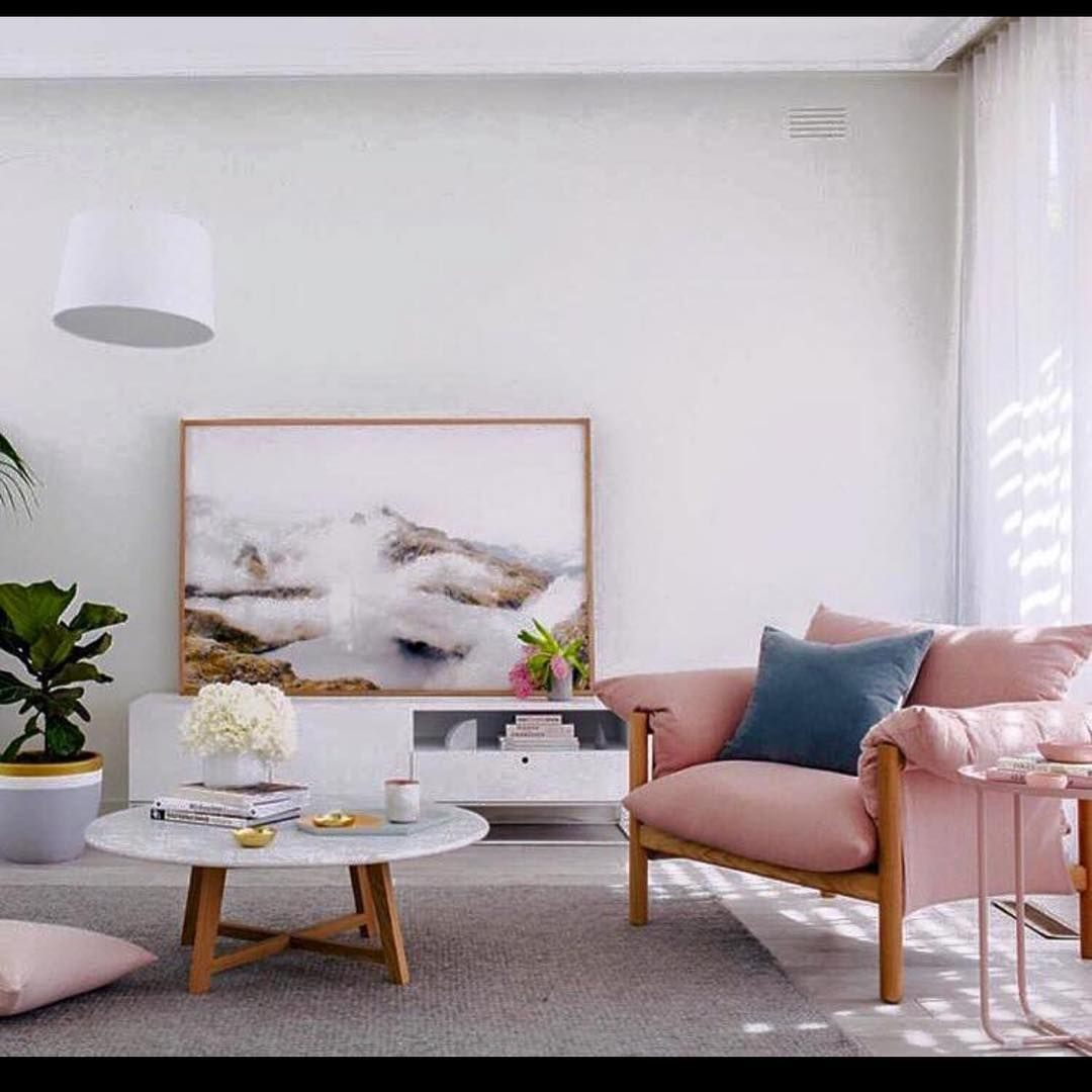 Best Modern Casual Living Room With Blush Colored Chair Cool 400 x 300
