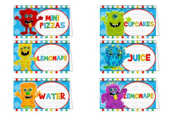 Monster Party Food Signs Monster Birthday Supplies by SDBDIRECT, $6.99