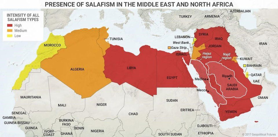 middle east north africa map This Map Shows The Presence Of Salafism In The Middle East And middle east north africa map