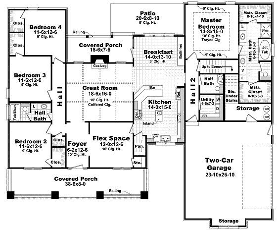 Craftsman Style House Plan 4 Beds 2 5 Baths 2400 Sq Ft Plan 21 295 Craftsman Style House Plans Craftsman House Plans House Floor Plans