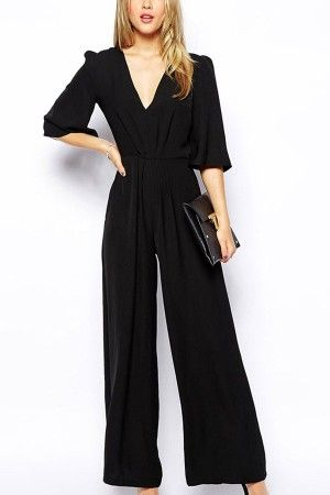 db81d46fa2 Black V Neck Half Sleeve Wide Leg Jumpsuit   Rompers And Jumpsuits For  Women-Strapless Jumpsuit