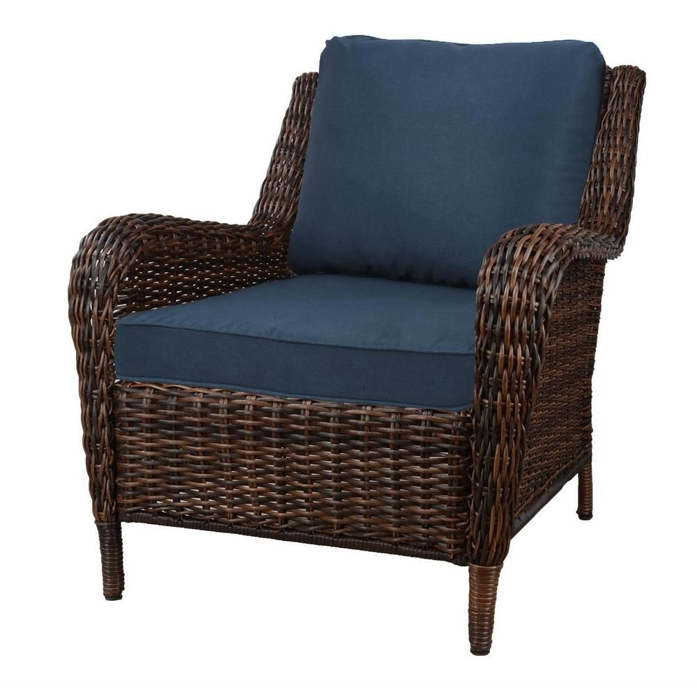 Hampton Bay Cambridge Brown Wicker Outdoor Patio Lounge Chair With