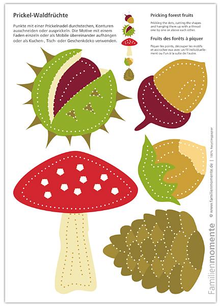 Waldfrüchte zum Prickeln eines Mobiles oder herbstlicher Tischdeko - Bastelbogen mit Kastanie, Eichel, Haselnuss, Pilz und Zapfen #bastelnmitkastanienkinder