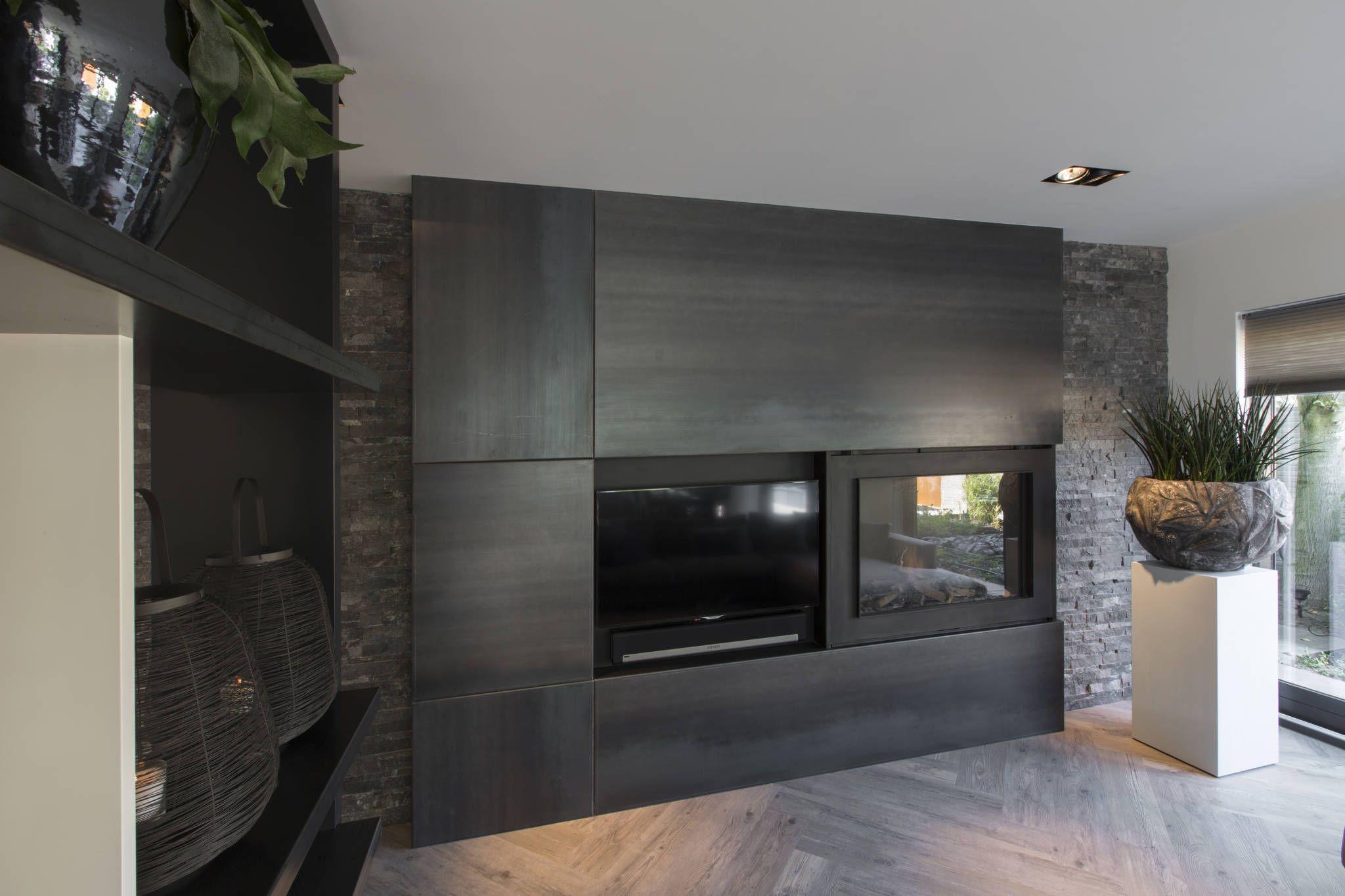 Foto s van een moderne woonkamer haard tvmeubel van blauwstaal living rooms and room - Deco moderne open haard ...