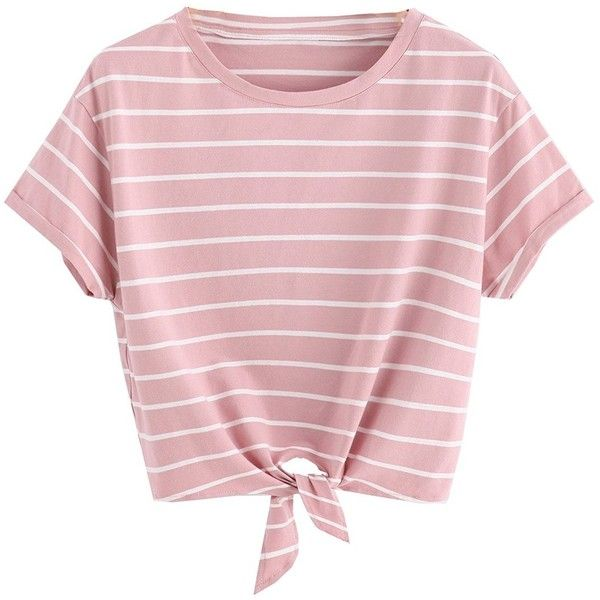 99b203ca31885f Romwe Women's Knot Front Cuffed Sleeve Striped Crop Top Tee T-Shirt ($11) ❤  liked on Polyvore featuring tops, t-shirts, cropped tops, pink top, ...