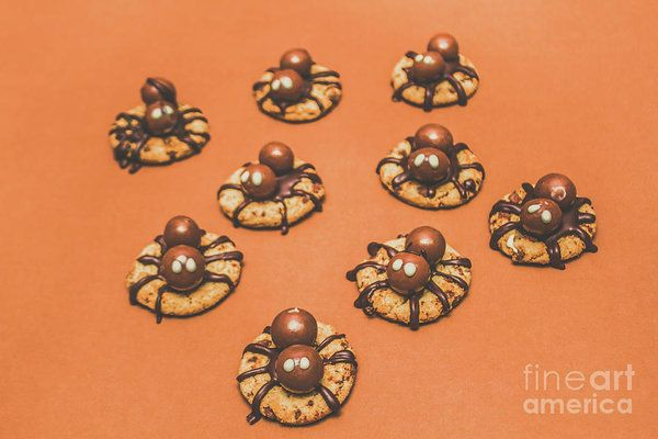 Trick or treat Halloween spider biscuits with creepy chocolate spiders crawling over freshly baked crunchy cookies on an orange background by Jorgo Photography - Wall Art Gallery