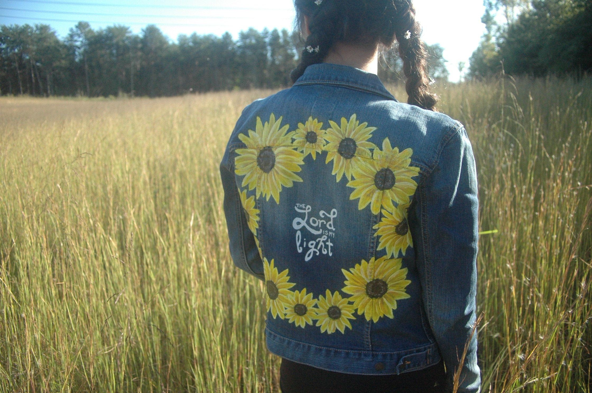 The Lord Is My Light Sunflower Handpainted Upcycled Gap Jean Etsy Jean Jacket Jean Jacket Diy Jackets [ 1488 x 2240 Pixel ]