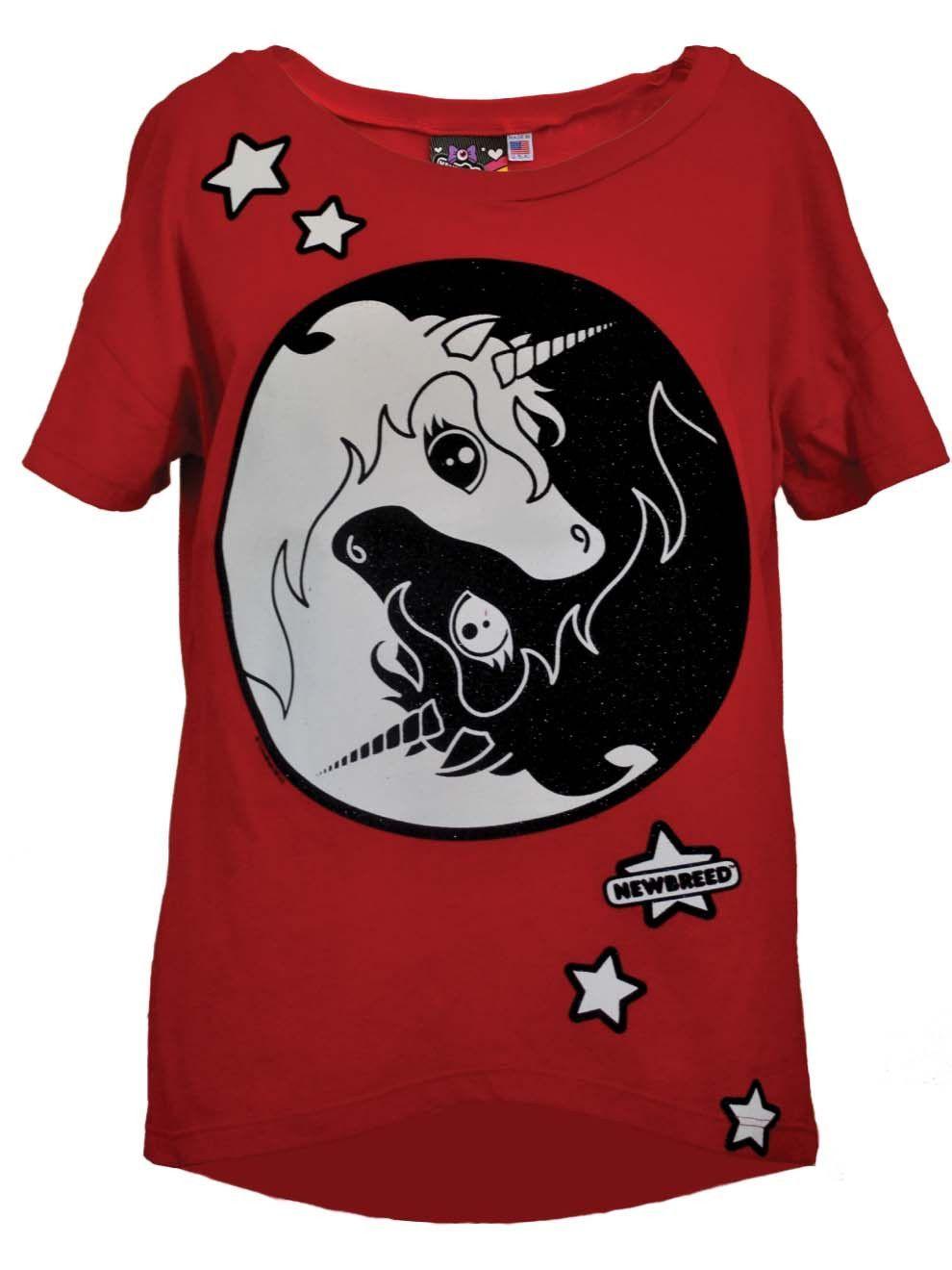 newbreed yin yang unicorn oversize tee  free gift