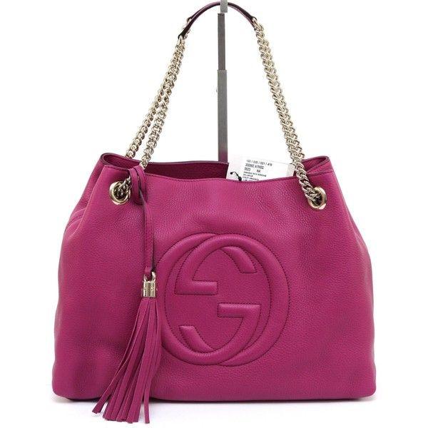 f04a1f8bd870 Gucci Violet Magenta Leather Soho Shoulder Bag Tote Gold Hw Chain Bnwt  (£1,370)
