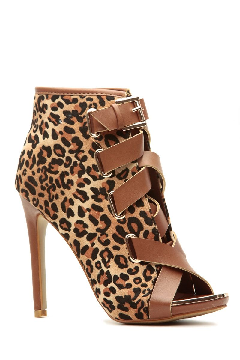 b3cc7295898 Leopard Print Faux Suede Strapped Open Toe Heels   Cicihot Heel Shoes  online store sales