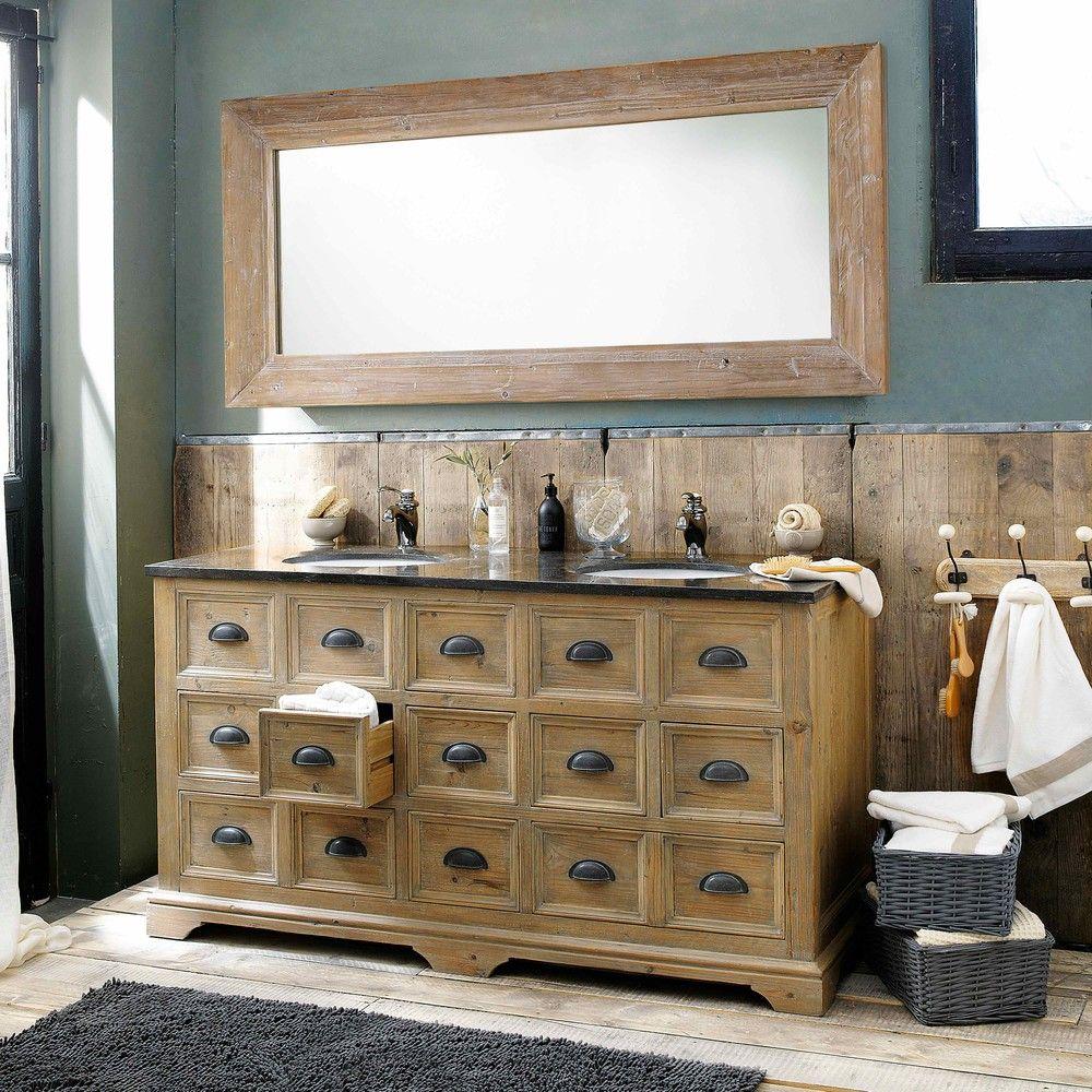 Meuble double vasque en bois et marbre L 160 cm St Quentin | Maisons ...