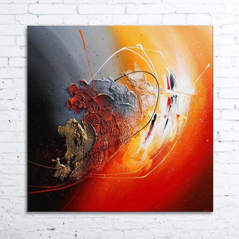 Peinture ankaa tableau abstrait contemporain toile acrylique en relief noir rouge gris orange for Peinture blanc orange salon