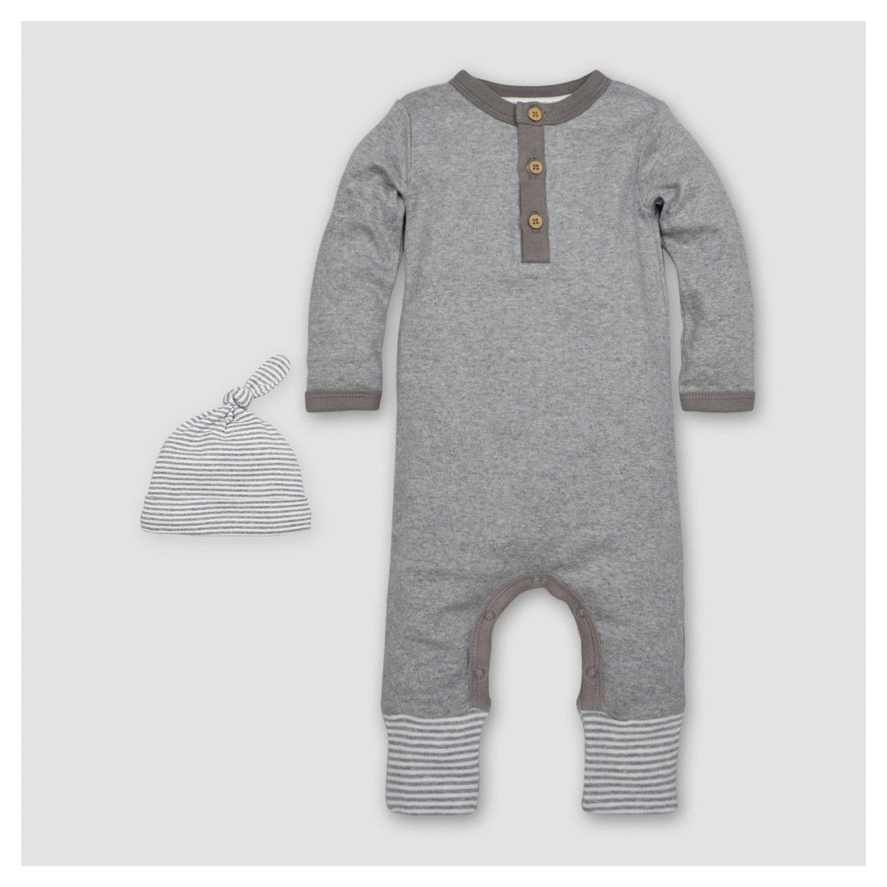 74177a976b5 Burt's Bees Baby Boys' Organic Henley Coverall & Hat Set - Heather Gray  Newborn