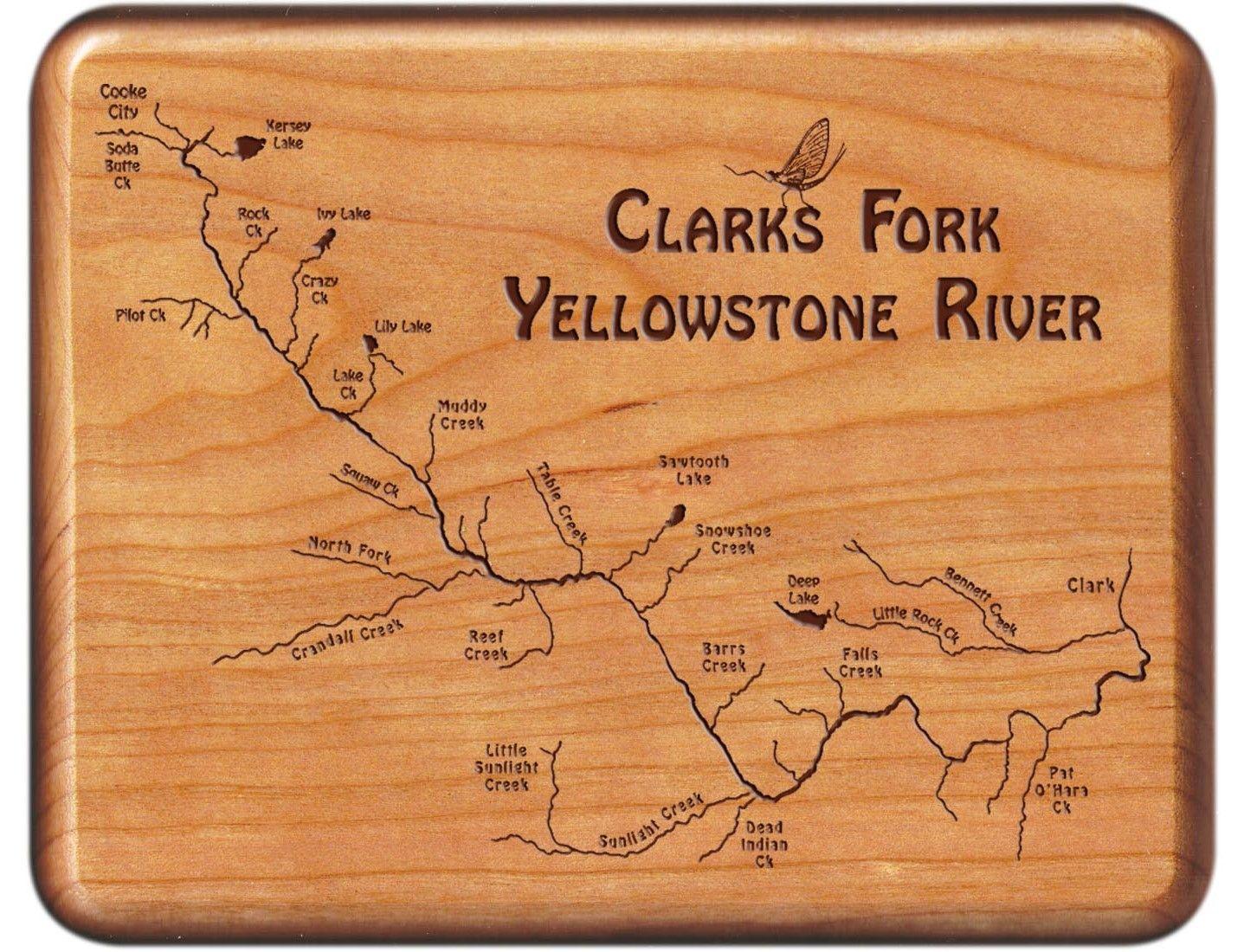 Clarks Fork Yellowstone River Map Fly Box MontanaWyoming - Montana rivers map