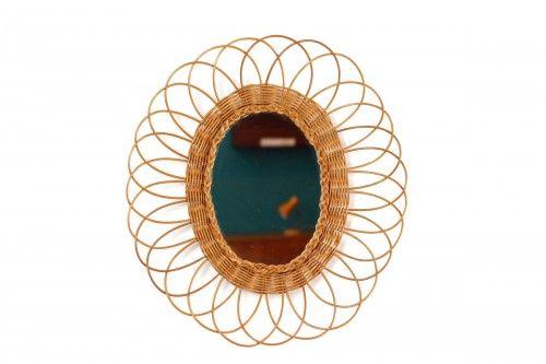 grand miroir en rotin vintage en forme de tr s grande fleur fresh and vintage pinterest. Black Bedroom Furniture Sets. Home Design Ideas