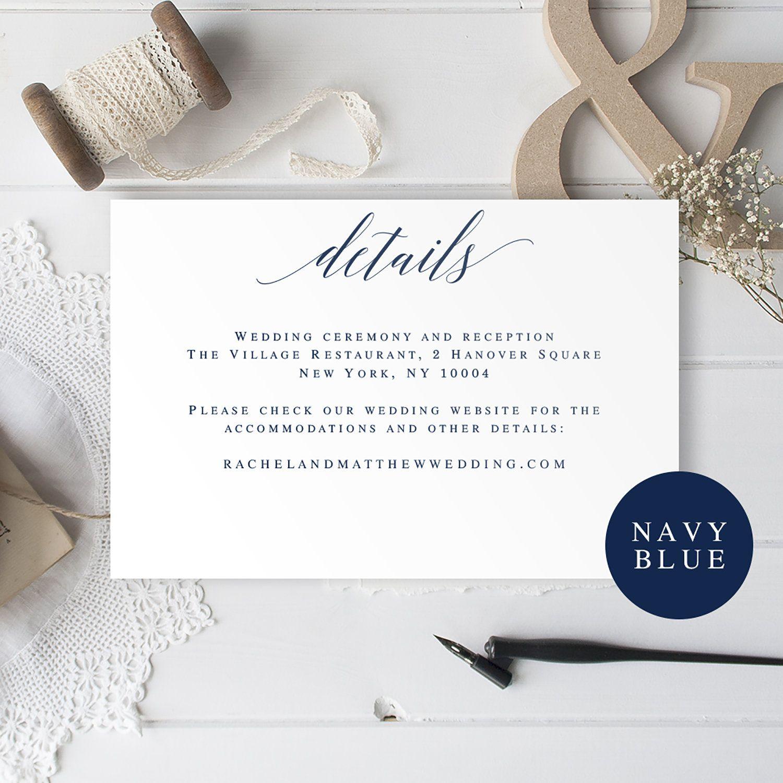 Navy wedding invitation insert card wedding details card