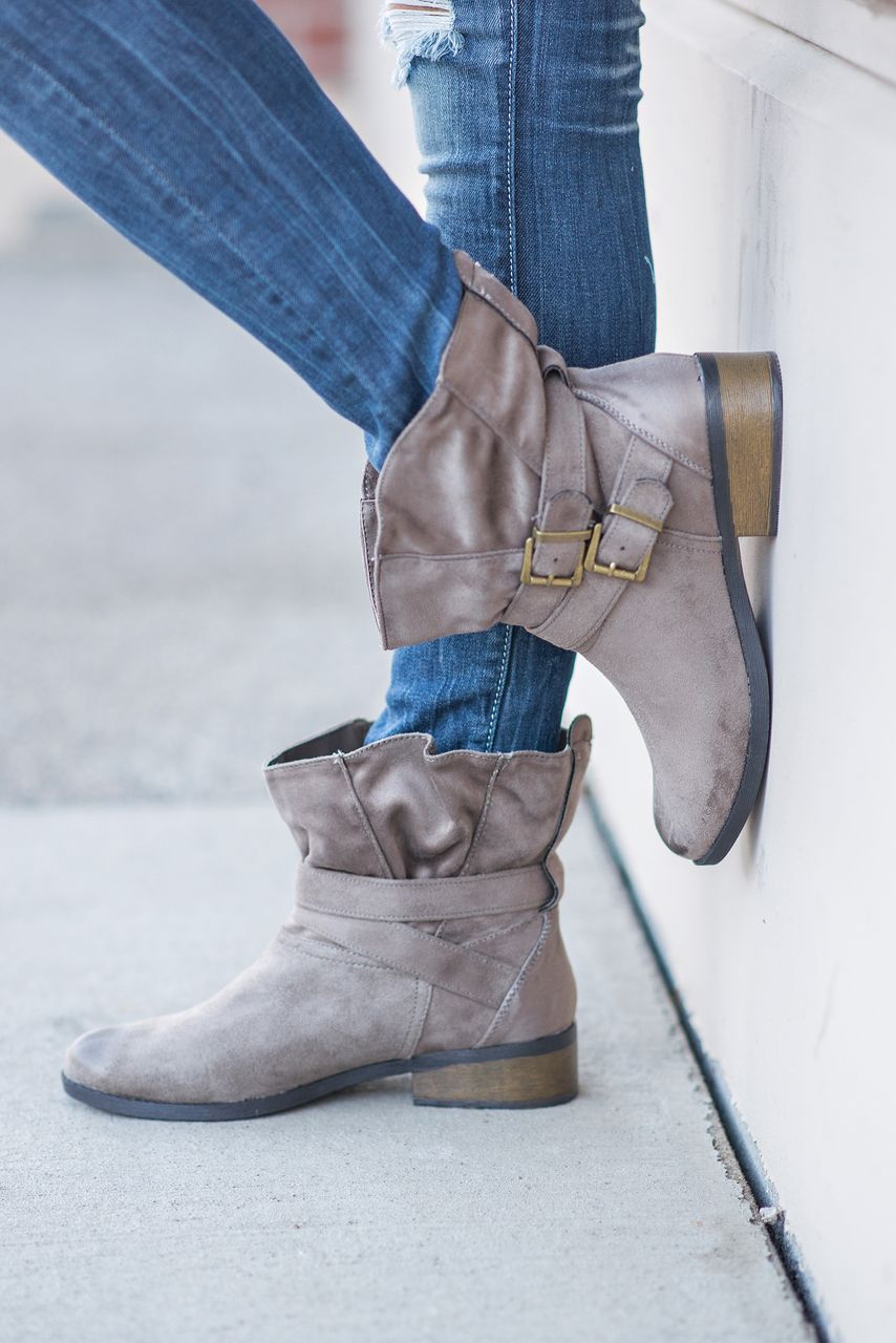 NanaMacs Boutique - Buckle Up Slouch Suede Boots (Taupe), $48.00 (http://www.nanamacs.com/buckle-up-slouch-suede-boots-taupe/)