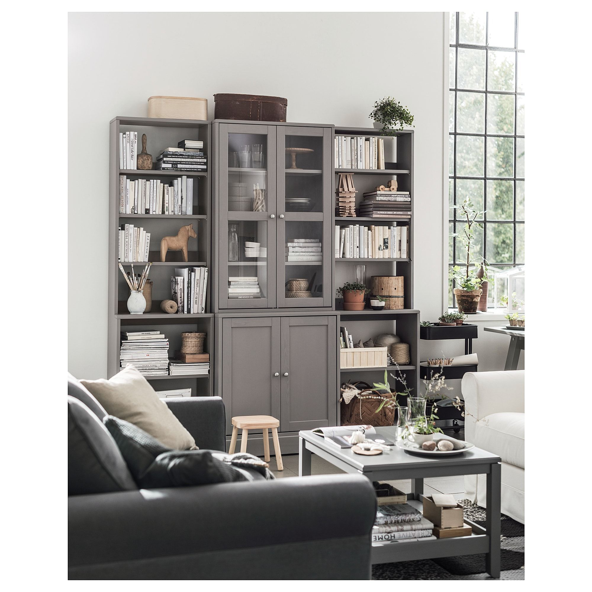 Storage Cabinets For Living Room: HAVSTA Storage Combination W/glass Doors Gray