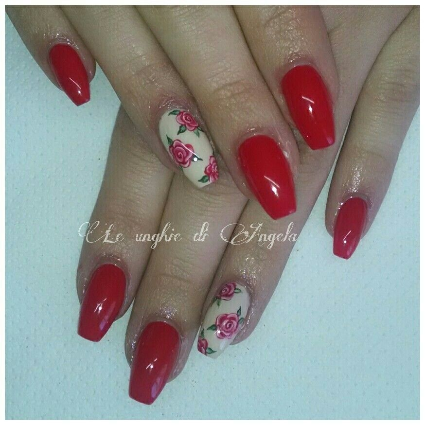 Vintage red roses on ballerina gel nails | My Gel Acrylic Nails ...