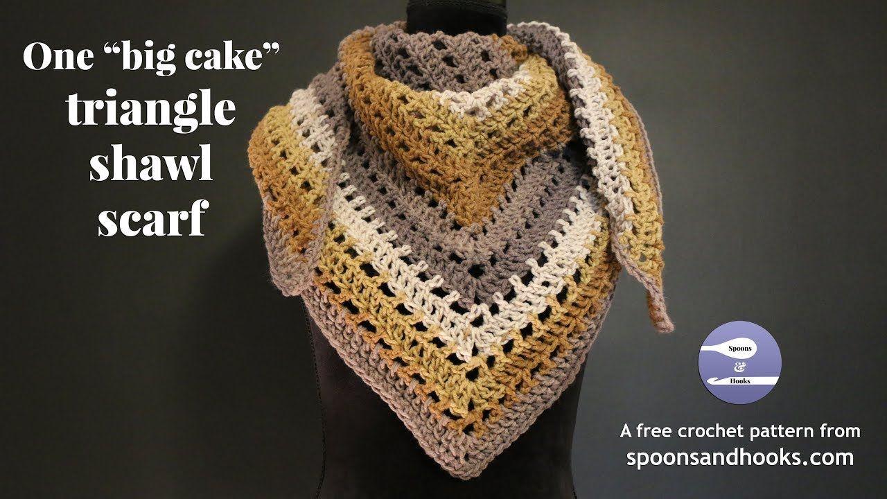One Big Cake Triangle Shawl Scarf Free Crochet Pattern Free