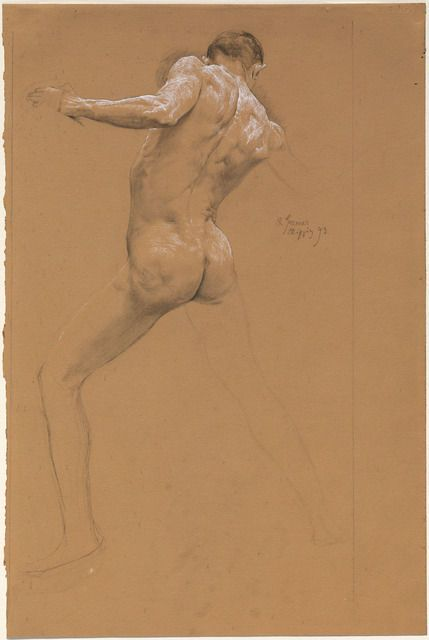 Otto Greiner Standing Male Nude From Behind 1893 Akt