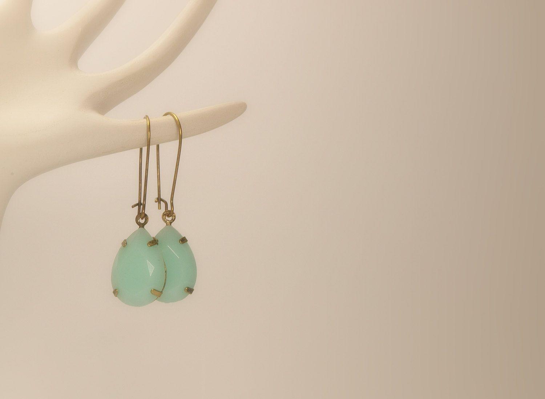 Light Blue Opaque Tear Drop Gems Jewels Oval Gem Charm Vintage Style Earrings