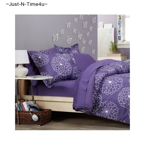 Full Queen Beautiful Purple Floral Color Pinzon 7-Piece Bed In A Bag Comforter!