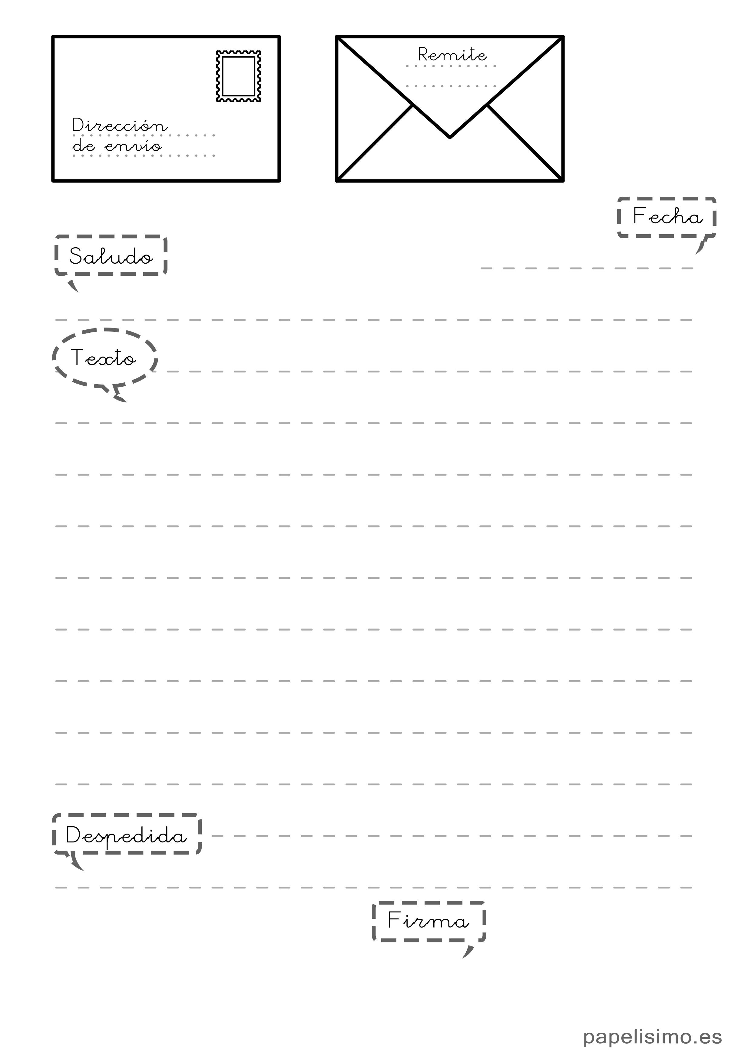 plantilla-partes-de-una-carta-para-ninos | Comunicación | Pinterest ...