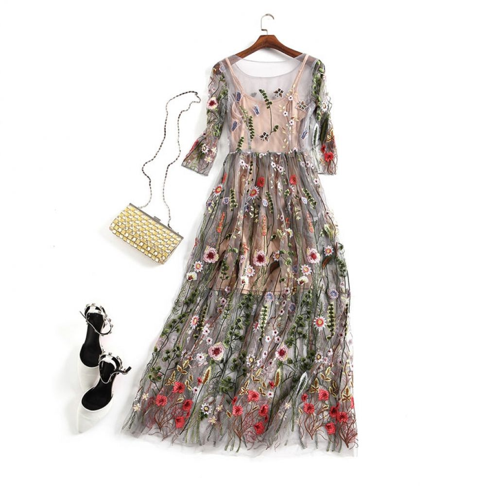 Embroidery Party Dresses Runway Floral Bohemian Flower Embroidered 2 Pieces Vintage Boho Mesh Dresses For Women Vestido D75905 Bohemian Vintage Dress Summer Dresses For Women White Floral Midi Dress [ 1000 x 1000 Pixel ]