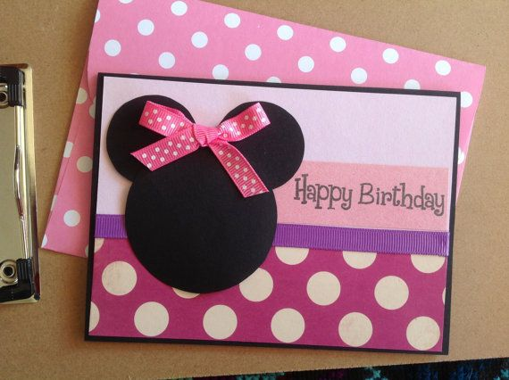 Handmade Minnie Mouse Inspired Birthday Card Girls Birthday Card