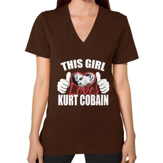 This girl love kurt cobain V-Neck (on woman)