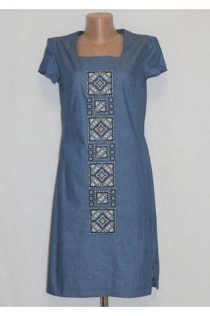 Сукня «Блакитний орнамент» синього кольору – з вишивкою 9955307719b33