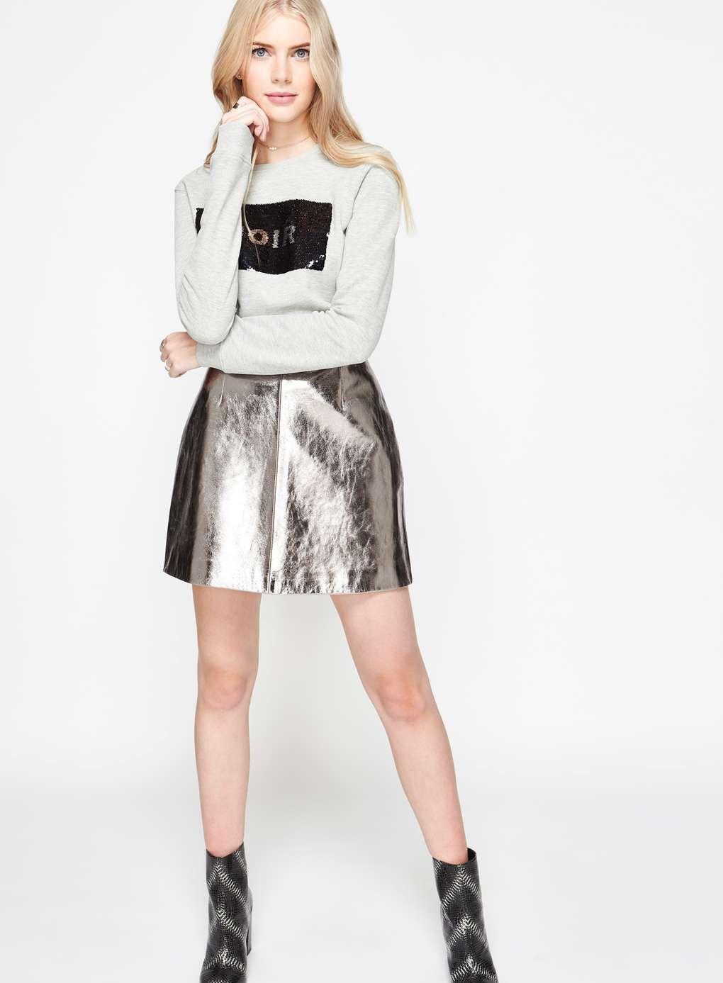 d9e91eb5cf41 Silver Leather Mini Skirt - Miss Selfridge Leather Mini Skirts, Carousel, Miss  Selfridge,