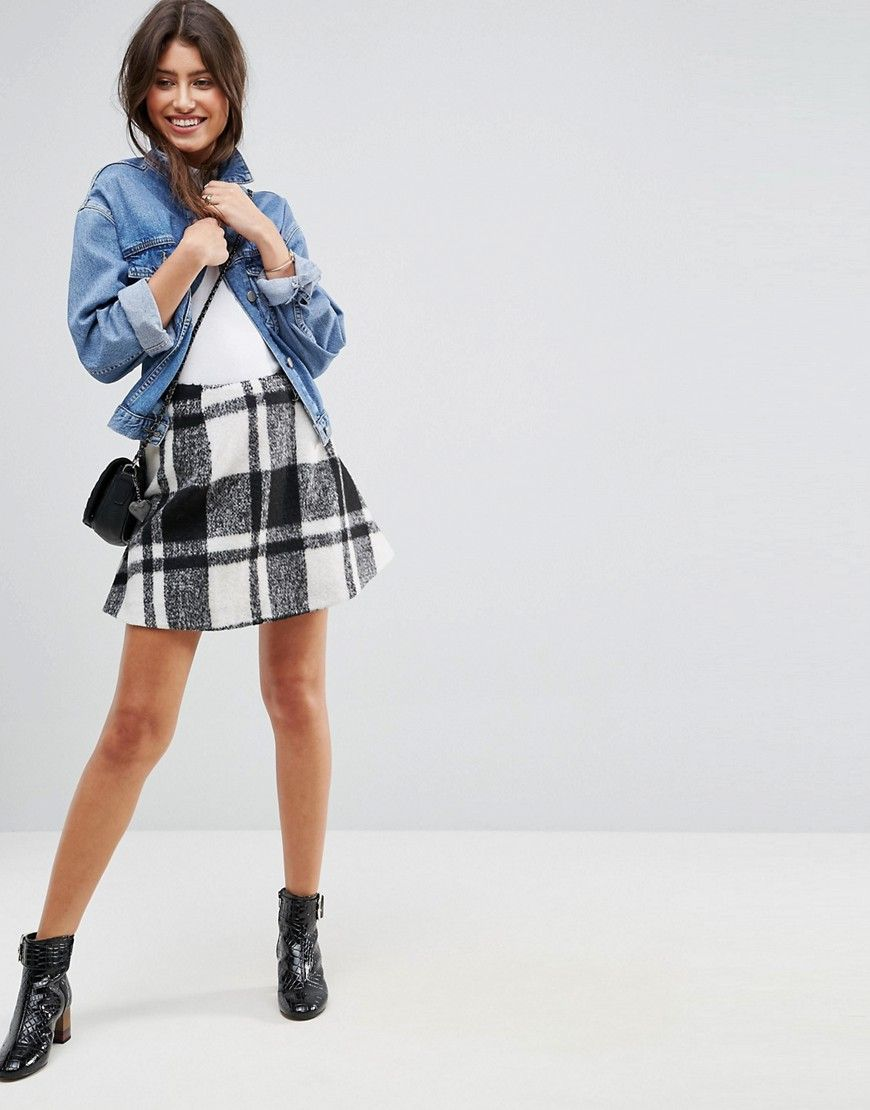 27519f4a00 Get this Asos's short skirt now! Click for more details. Worldwide  shipping. ASOS Flippy Check Mini Skirt - Black: Mini skirt by ASOS  Collection, ...