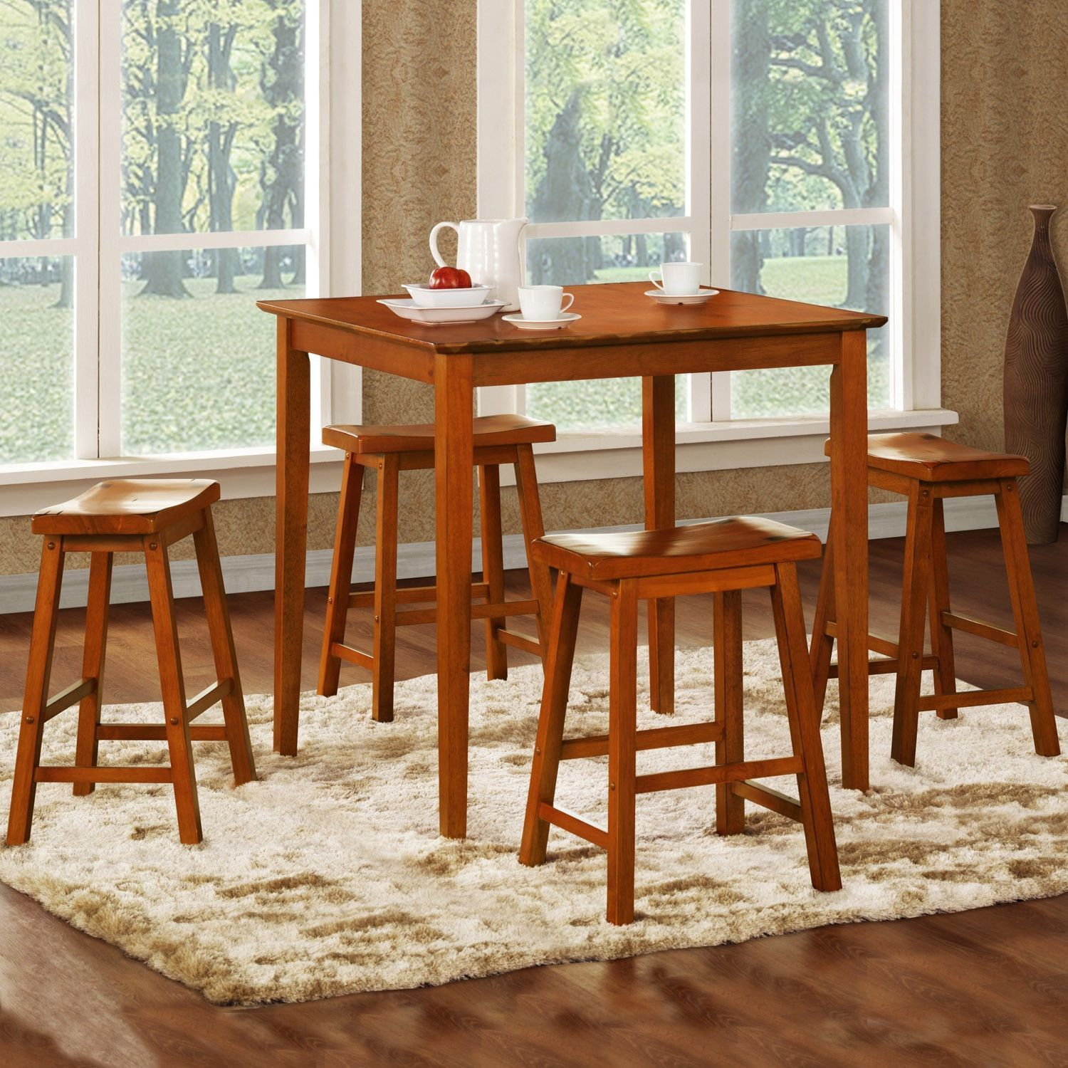 Oxford Creek Oak 5 Piece Pub Set With Stools, Orange
