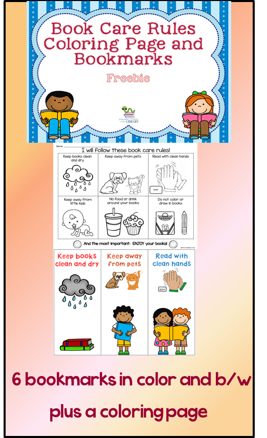 Free Bookmarks And Coloring Page To Review Book Care Rules With Students Book Care Library Lessons Elementary Library Reading Quotes