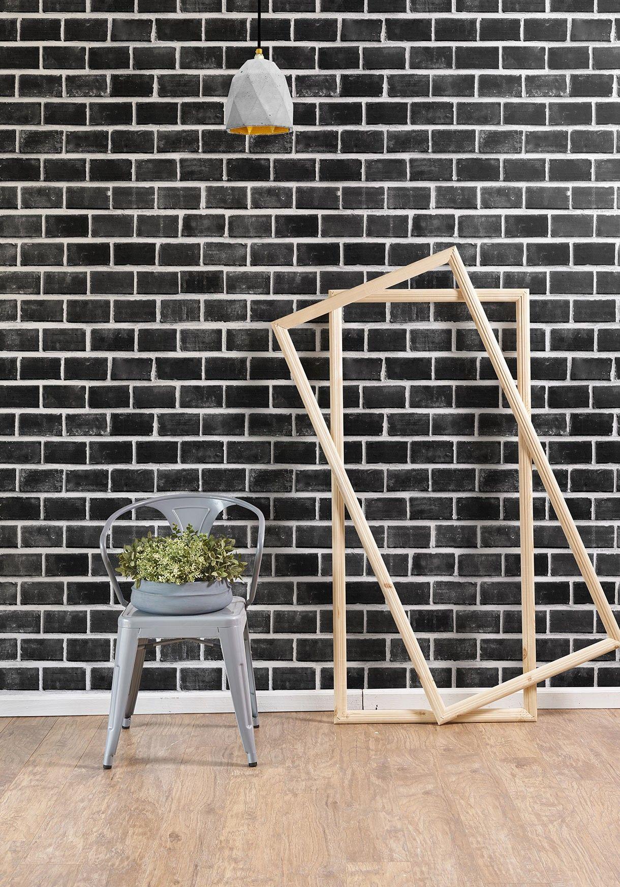 Lubeck Bricks Wallpaper Exposed Black Bricks Milton King In 2021 Black Brick Wallpaper Exposed Brick Wallpaper White Brick Wallpaper