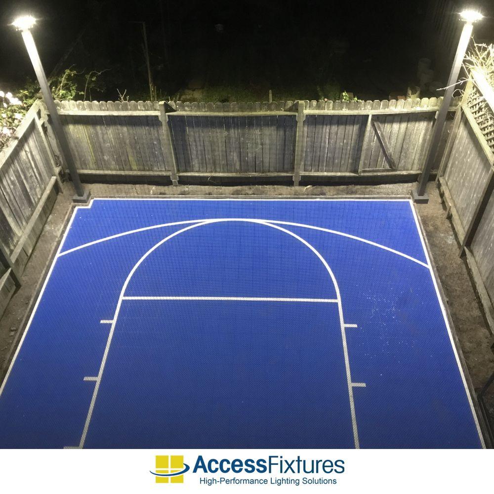 We Recently Had A Customer In California Ask Us About Lighting His Backyard Basketball Court Visit Our Basketball Court Backyard Backyard Basketball Backyard