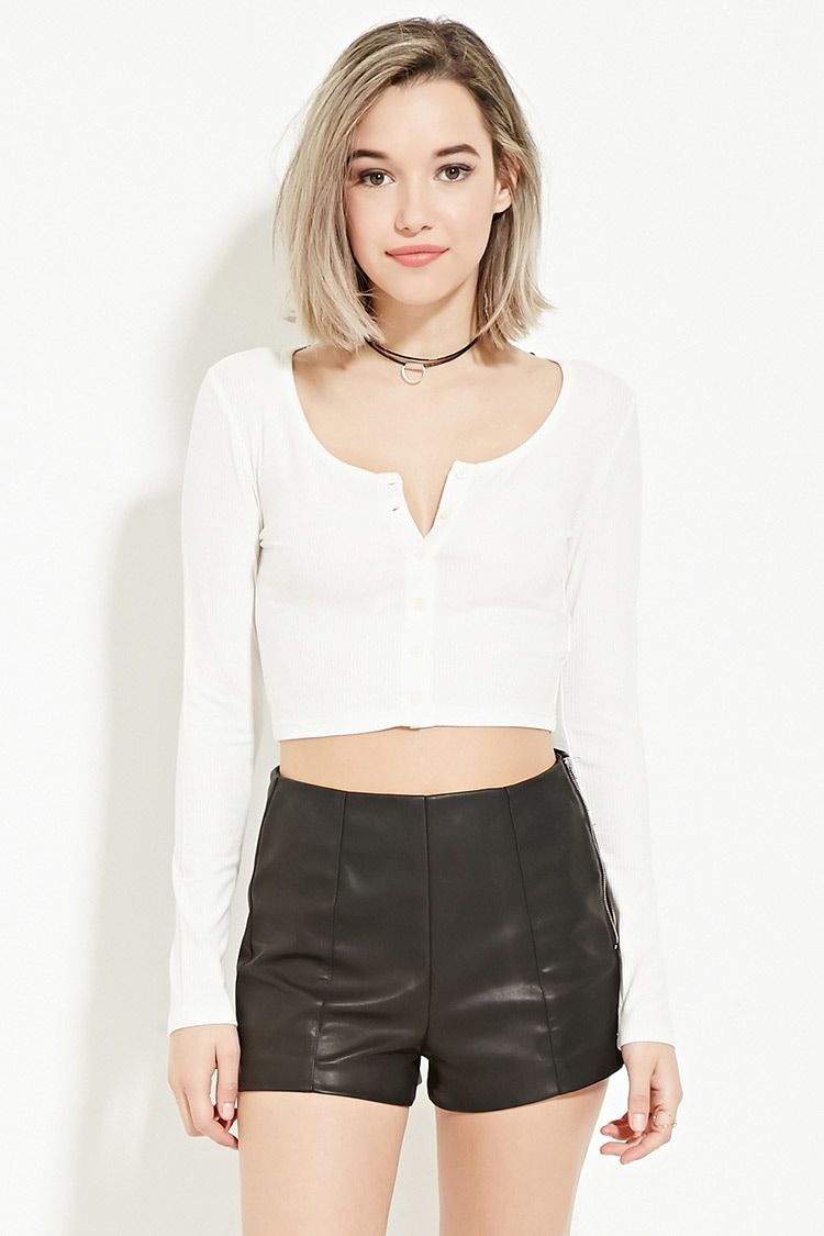 3f246fd81255a Ribbed Button-Front Crop Top