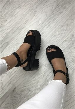 Black Chunky Cleated Sole Sandal