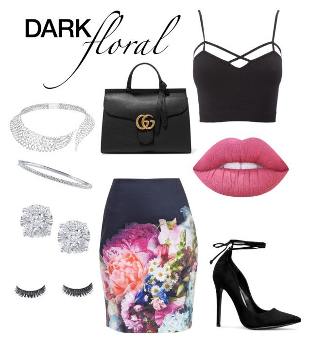 """""""Dark Florals"""" by ayla-raine on Polyvore featuring Messika, Charlotte Russe, Effy Jewelry, Lime Crime, Ted Baker, Gucci, BERRICLE, contest, floral and Flowers"""