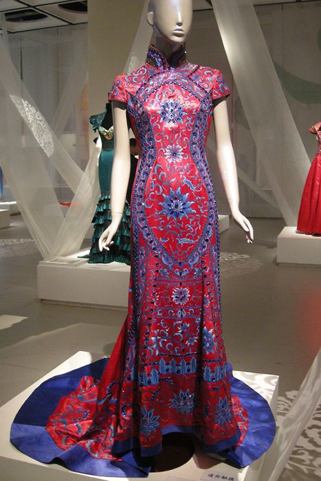 76792d8c6 Guo Pei, silk cheongsam, blue and white embroidery on red ground ...